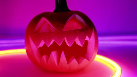 Halloween Pumpkin, Horror Scary Jack O Lantern stock footage