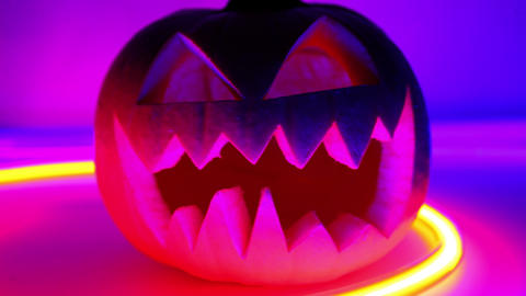 Halloween pumpkin, horror scary jack o lantern Stock Video Footage