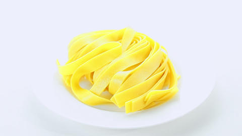 Italian pasta plate on white background Footage