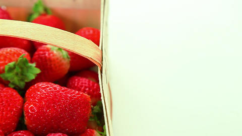 Beautiful ripe red strawberries in basket Stock Video Footage