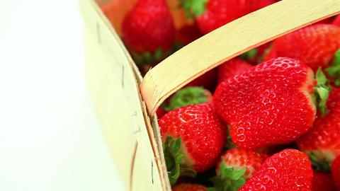Beautiful red strawberries in basket Stock Video Footage
