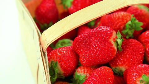Beautiful red strawberries in basket Stock Video Footage