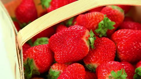 Beautiful red strawberries in basket Footage