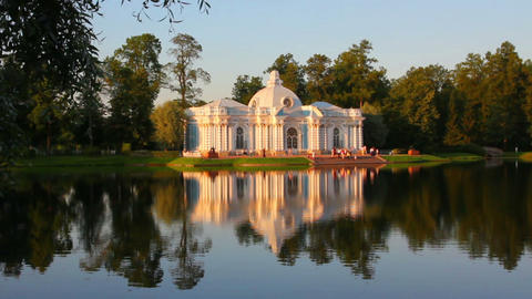 pavilion on lake in Pushkin park St. Petersburg Ru Stock Video Footage
