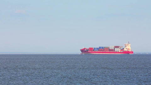large ship loaded with containers Stock Video Footage