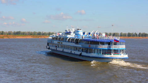 passenger ship floating in river Stock Video Footage