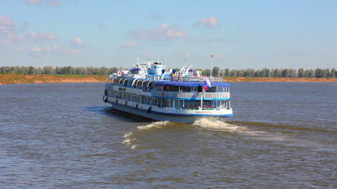 passenger ship floating in river Footage