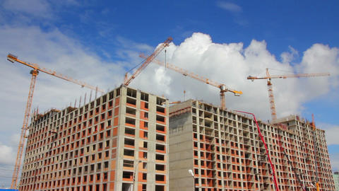 working construction cranes Stock Video Footage