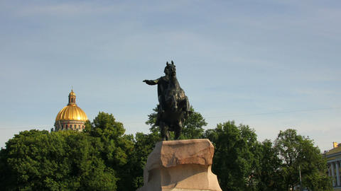 Peter I famous statue in St. Petersburg Russia - t Stock Video Footage