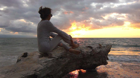 enjoying the sunset Stock Video Footage