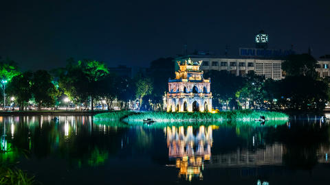 1080 - Turtle Tower on Hoan Kiem lake - Hanoi Stock Video Footage