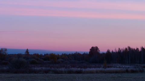 Dawn over the autumn landscape. Time Lapse Footage