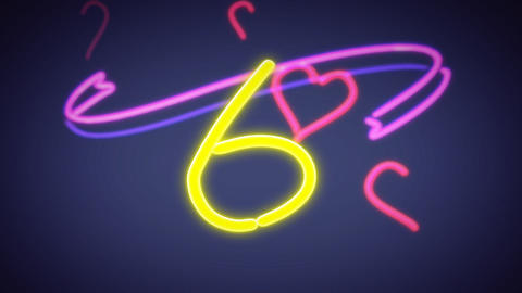 neon countdown object blue Stock Video Footage