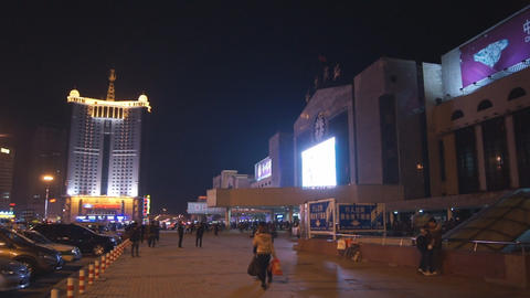 Harbin 19 Railway station square Stock Video Footage