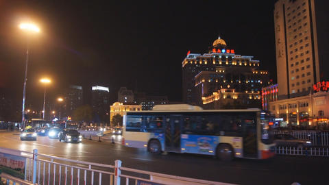 Harbin 21 Night traffic Stock Video Footage