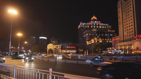 Harbin 21 Night traffic Stock Video Footage