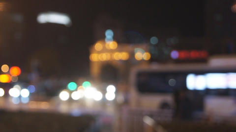 City night traffic defocused Stock Video Footage