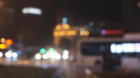 City night traffic defocused Footage