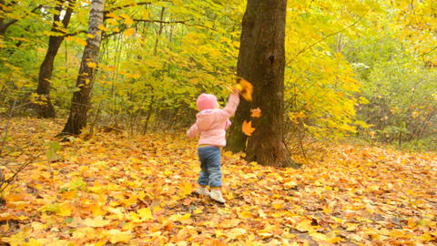 Cute Little Baby Girl is Playing with Yellow Leafs Stock Video Footage