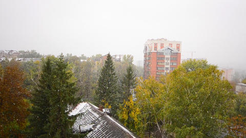 First Snow Fall in the City, Winter Scene Stock Video Footage