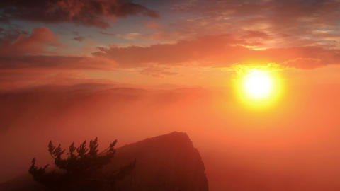 Timelapse sunrise in the mountains Ai-Petri. Alupk Stock Video Footage