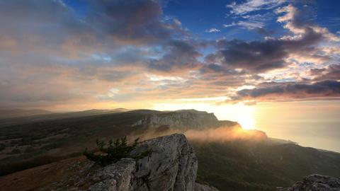 Timelapse sunrise in the mountains Ai-Petri. Alupk Stock Video Footage