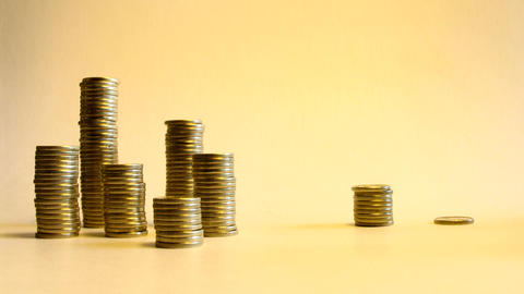 Reallocate Stacks Of Coins Illustrating Transfer M stock footage
