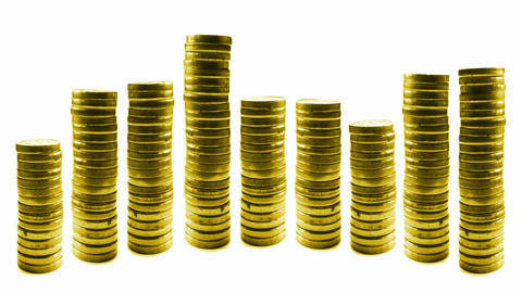 loopable growing and reducing stacks of coins in l Stock Video Footage
