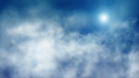 loopable flying through clouds on blue day sky wit Stock Video Footage
