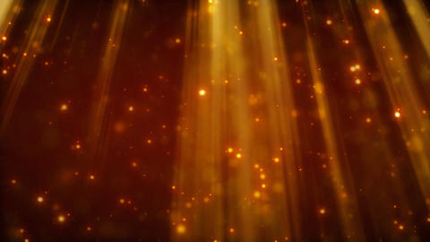 loopable background flying golden particles in lig Stock Video Footage