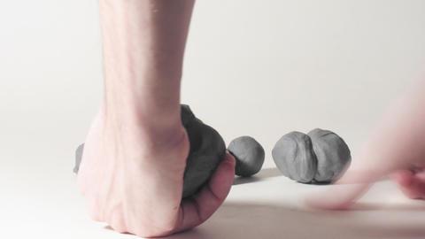 timelapse sculptor modeling plasticine cartoon fig Stock Video Footage
