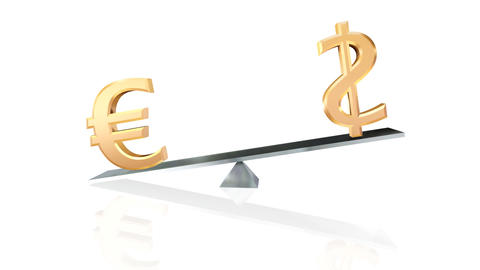dollar and euro signs on teeter-totter loopable wi Animation