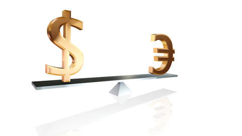 dollar and euro signs on teeter-totter loopable wi Stock Video Footage