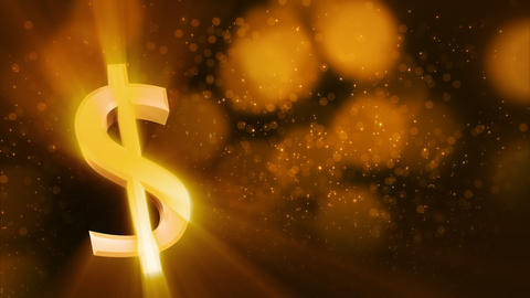 looping shiny dollar sign and golden dust Animation