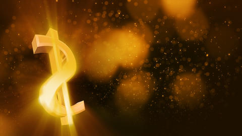 looping shiny dollar sign and golden dust Stock Video Footage