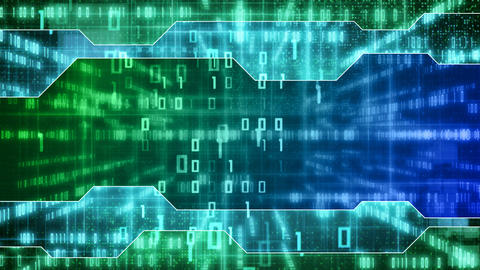 blue green loopable IT background binary signs Stock Video Footage