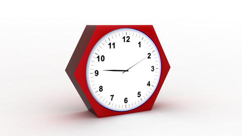 timelapse clock on white 3d Stock Video Footage
