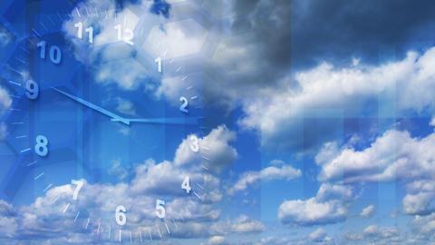 timelapse clock on sky background loop Stock Video Footage