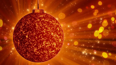 orange christmas ball close-up and lights loop Animation