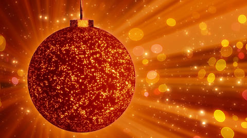 orange christmas ball close-up and lights loop Stock Video Footage