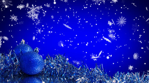 blue christmas tree decoration and snowfall alpha Stock Video Footage