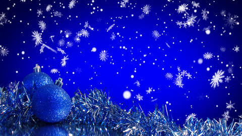 blue christmas tree decoration and snowfall alpha  Animation