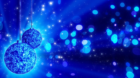 two blue christmas balls loop rotating Stock Video Footage