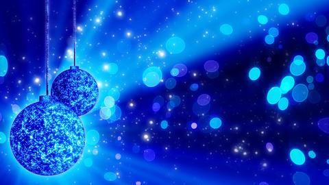 two blue christmas balls loop rotating Animation