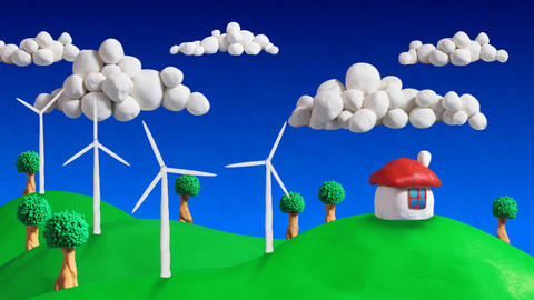 ecologic scene house and wind turbines loop clay a Videos animados