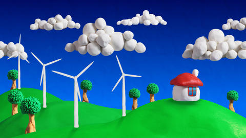 ecologic scene house and wind turbines loop clay a Stock Video Footage