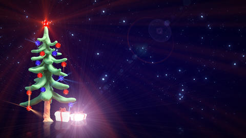 clay christmas tree and glitter particles loopable Stock Video Footage