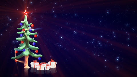 clay christmas tree and glitter particles loopable Animation