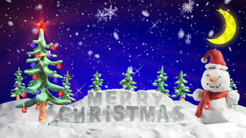 merry christmas clay greetings loopable scene Animation