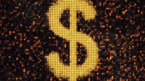 seamless loop dollar shape on digital screen Stock Video Footage